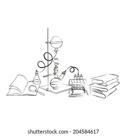 Science icons doodles Chemical Laboratory. A stack of books.