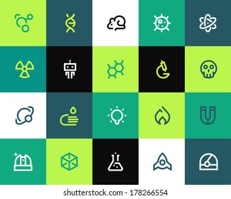 Science icons. Flat