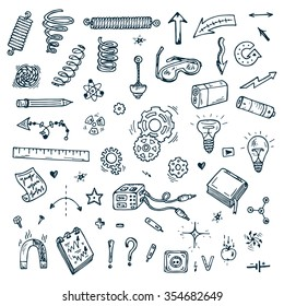 Science icons. Hand drawn doodles Physics Set.