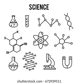 Science icons on white background. Research outline icon. Tiny line vector elements