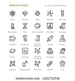 Science Icons - Outline styled icons, designed to 48 x 48 pixel grid. Editable stroke.