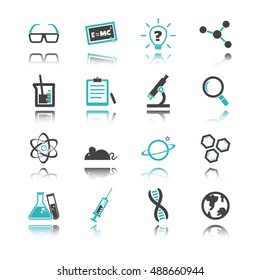 science icons with reflection isolated on white background