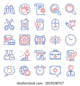 Science icons set. Included icon as Time, Computer fan, Search signs. Chemistry lab, First aid, Organic tested symbols. Agreement document, Copyrighter, Medical chat. Partnership, Swipe up. Vector