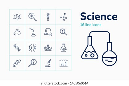 Science icons. Set of line icons on white background. Exploration, research, experiment. Biotechnology concept. Vector can be used for topics like medicine, laboratory, biology