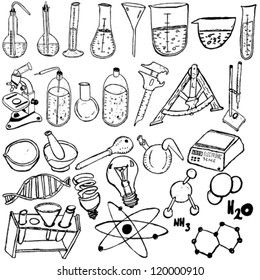 Science icons sketch