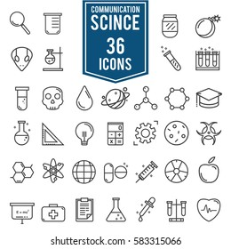 Science icons, technology science medical set, illustration Eps10