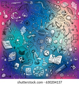 Science Illustration with Colourful Molecules Seamless Texture Pattern Vector Art Design