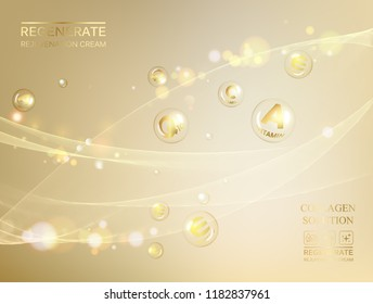 Science illustration of a cream molecule. Regenerate face cream and Vitamin complex concept. Organic cosmetic and skin care cream. Beauty skin care design over golden background. Vector illustration.