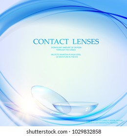 Science illustration for medical design. Contact lens concept with water wave flow over blue background and two eye lences. Vector illustration.