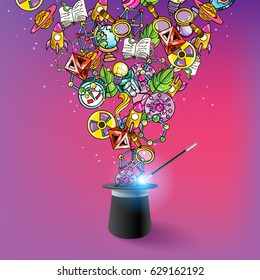 Science Illustration with Molecules and Bacteria and other Icons Coming Out of the Magic Hat Vector Art Design