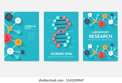Science information cards set. laboratory template of flyear, magazines, posters, book cover, banners. Chemistry infographic concept background. Layout illustrations template pages