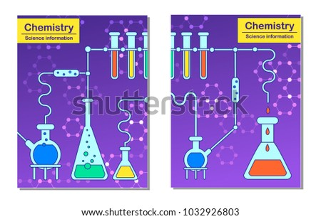 Science Information Cards Set Laboratory Template Stock Vector ...