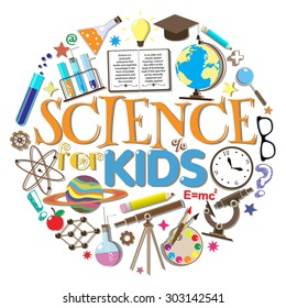 Science for kids. School symbols and design elements isolated on white background. Vector illustration.