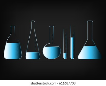 science lab bottles in different shapes with liquids, vector illustration with glowing neon light streak effect and gradients on mesh background