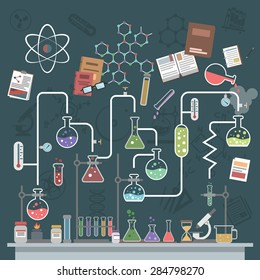 Science lab concept with flat flasks and physics symbols vector illustration