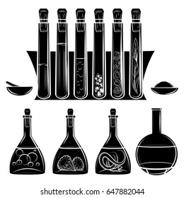 Science lab equipment black silhouettes isolated on white. Vector illustration
