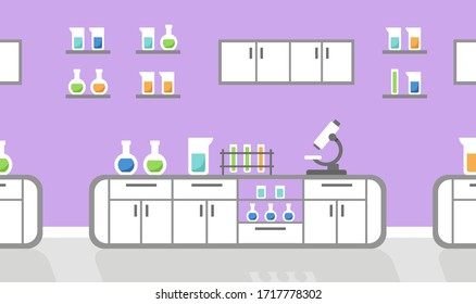 Science lab interior with chemical flasks and microscope, vector illustration