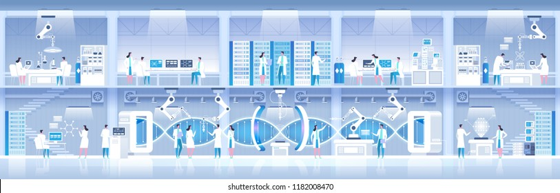 Science lab. Laboratory assistants work in scientific medical chemical or biological lab setting experiments. DNA research. High detailed vector illustration