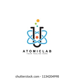 science lab logo, illustration of atomic nucleus vector design