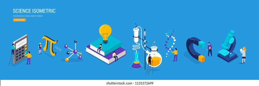 Science lab and school class. Education, mathematics, chemistry scene with miniature people, students. Isometric concept