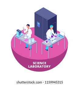 Science laboratory 3d isometric research lab with laboratory equipment and scientists vector icon isolated on white background illustration