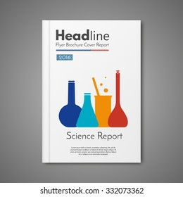 Science Laboratory design vector template layout for magazine brochure flyer booklet cover annual report.