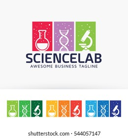 Science laboratory logo design. Science education logo concept. Vector logo template