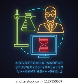 Science laboratory neon light concept icon. Microbiology idea. Ring stand with flask, microbiologist, laboratory computer. Glowing sign with alphabet, numbers and symbols. Vector isolated illustration