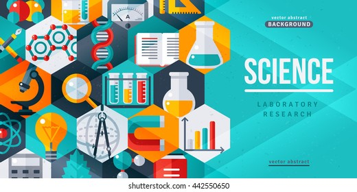 Science laboratory research creative banner. Vector illustration. Flat design scientific icons in hexagons. Concept for web banners and promotional materials