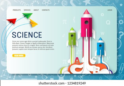 Science landing page website template. Vector paper cut creative pencil rocket launch, planes. Education startup, back to school concept.