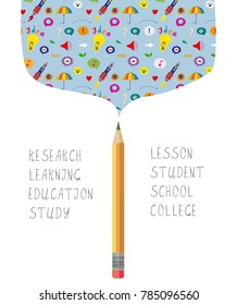 Science or learning bacgkround for the school with pencil and symbols. Vector graphic illustration