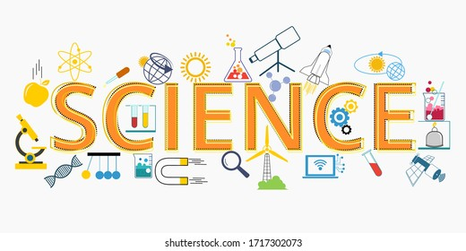 Science lettering flat line design with scientific icons and elements for book cover, report header, presentation, illustration, infographics. and illustration graphic design scientific.