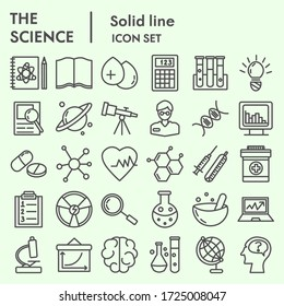 Science line icon set, research symbols collection or vector sketches. Technology signs for web, linear style pictogram package isolated on white background. Vector graphics