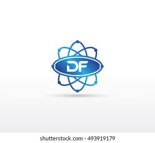 Science logo with the initials DF letter. Science logotype template design