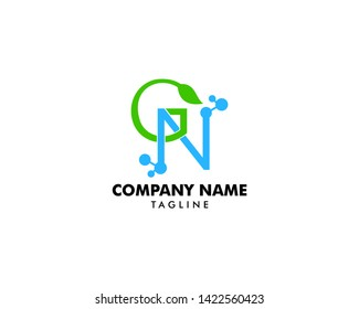 Science logo with the initials GN letter, molecule initial Letter GN Logo design, GN Dna Letter Logo Icon Design