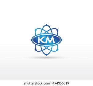 Science logo with the initials KM letter. Science logotype template design
