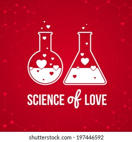 """""""Science of love"""" invitation card on background. Vector illustration for Valentines day or wedding. Vector illustration of chemistry flask filled with hearts."""