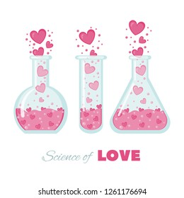 Science of love invitation card. Vector illustration for Valentines day or wedding. Vector illustration of chemistry flask filled with hearts.
