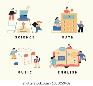 Science, math, English, music and objects around and small characters around. flat design style minimal vector illustration