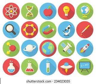 Science, modern flat icons with long shadow