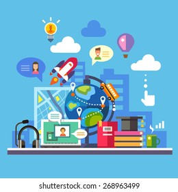 Science and modern technology. Online learning and reading. Imagination concept, social network. Globe, city silhouette, laptop, avatar, balloon, rocket, map, light bulb. Vector flat illustration