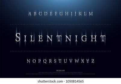 Science movie font with lighting effect on night background. technology, sci-fi alphabet glowing letters. vector illustration