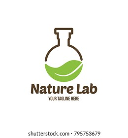Science nature Creative logo design template. Unique symbol design with leaf. Abstract vector health care icon.