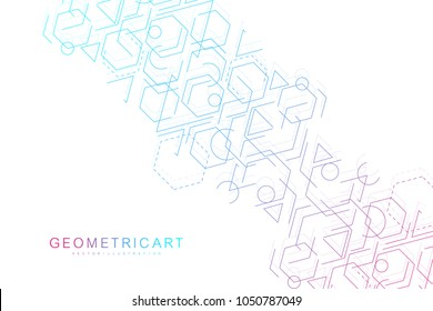 Science network pattern, connecting lines and dots. Modern futuristic virtual abstract background molecule structure for medical, technology, chemistry, science. Scientific hexagonal vector