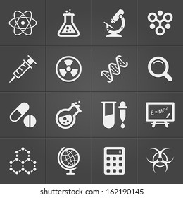 Science and physics related icons on black. Vector illustration