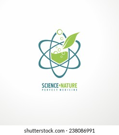 Science plus nature for perfect medicine. Creative logo design template. Unique symbol design with leaf and atom. Abstract vector health care icon.