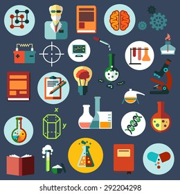 Science and research flat icons with scientist, laboratory flasks, tubes and burner, microscope, books, idea light bulb, brain, DNA, computer, battery, capsule, notes, geometric figures and gears