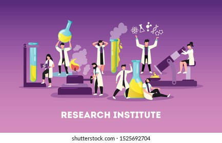 Science research institute professional team at work flat funny symbolic composition with microscope and retorts vector illustration
