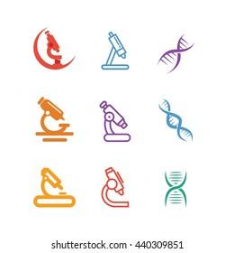 Science Research Laboratory Icon Logo Set Vector