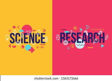 Science and research word concept banner design. Scientific lab study lettering and abstract symbols